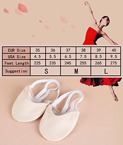 Sock Daily Flat Practice Shoe Toe Gymnastic for Half Sole Ballet and Slipper Beige Dance Class Dancer Rhythmic wRqIfWF