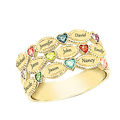 Shiny Alice Personalized Mothers Rings 9 Simulated Birthstones Rings for Mother Name Rings Mother Grandmother Gifts for Mother's Day(Gold (Stones Classic Mothers Ring)
