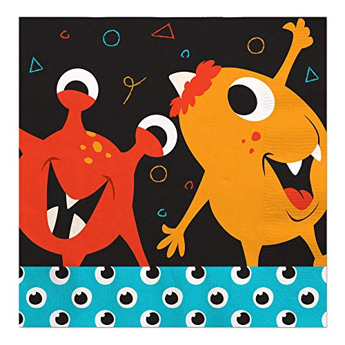 Luncheon Napkins Bash - Big Dot of Happiness Monster Bash - Little Monster Birthday Party or Baby Shower Luncheon Napkins (16 Count)