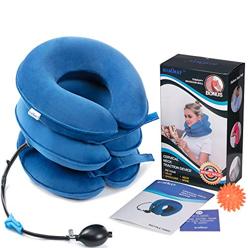 Health Cervical Neck Traction Device - FDA Registered - Inflatable & Adjustable Neck Stretcher Collar, Instant Pain Relief for Chronic Neck and Shoulder Pain ? Bonus Therapy Massage Ball