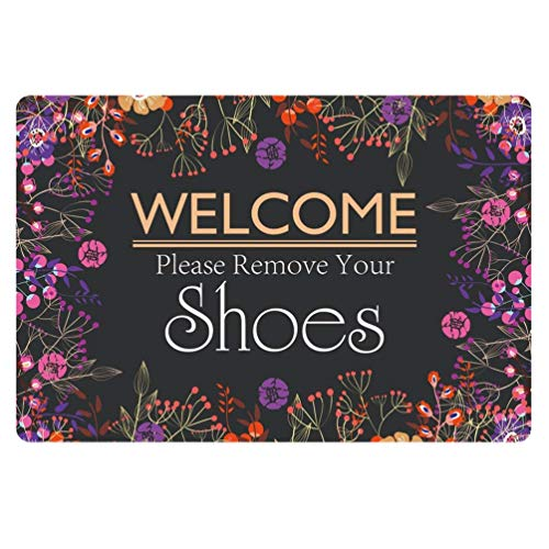 Coloranimal Patio Garage Kitchen Living Room Decor Funny Doormat Welcome Please Remove Your Shoes Design Shoes Scraper Area Rugs Non Slip Rubber Backing Mat -