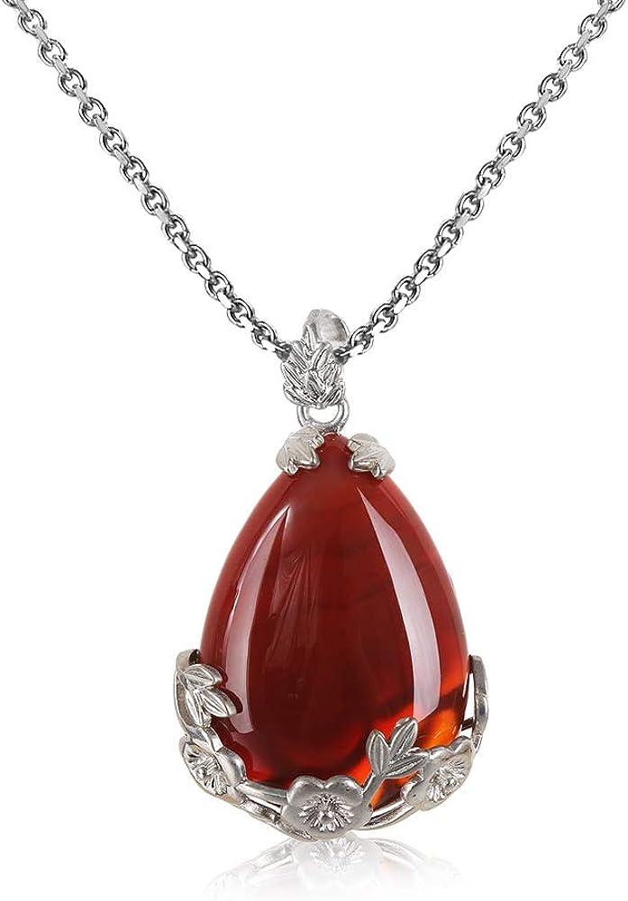 Natural Quartz Crystal Stone Inlaid Flower Healing Opal Water Drop Necklace Pendants Vintage Jewelry 2 Pcs