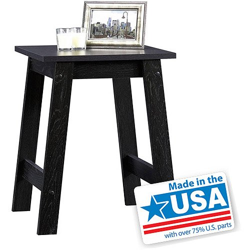 Sauder Beginnings Collection Side Table - Black - Home Furniture - Lounge Living or Bedroom Furnitures - End Table - Black Finish That Matches a Variety of House Decors - 1 Year Warranty