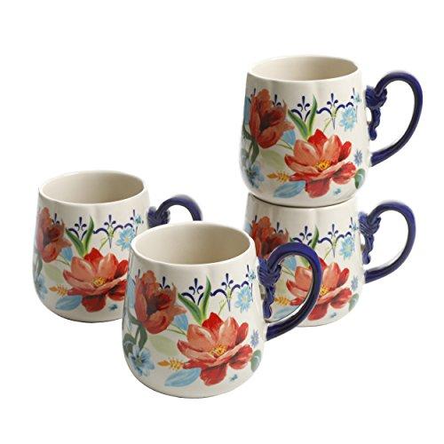 Pioneer Woman Spring Bouquet 19oz Cups Coffee Tea Mug Set of 4 ()