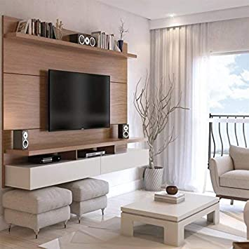 Manhattan Comforts 25153-MC City 1.8 Floating Wall Theater Entertainment Center, Maple Cream and Off White