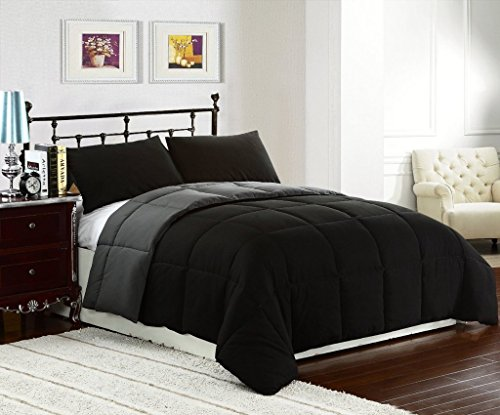 1200TC Emperor/Wyoming King Size Black Solid 8pc Bedding Set (with 500GSM Comforter,21