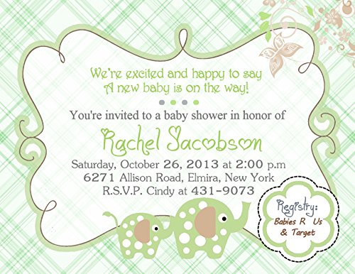 Personalized Baby Shower Invitations Cute Unisex Elephant Cards Custom Printed! - Cute Baby Shower Invitation Wording