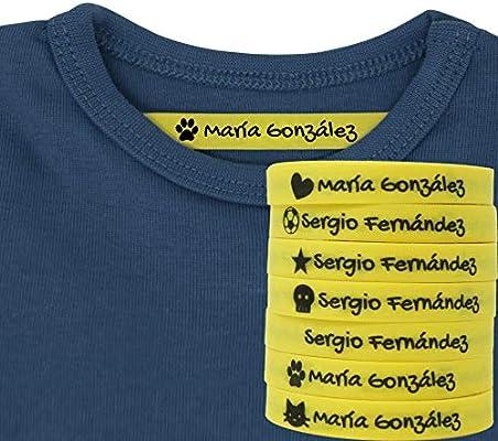 100 Etiquetas Termoadhesivas Personalizadas con Icono para marcar la ropa. (Amarillo)