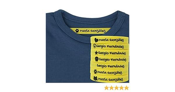 100 Etiquetas Termoadhesivas Personalizadas con Icono para marcar la ropa. (Amarillo): Amazon.es: Hogar