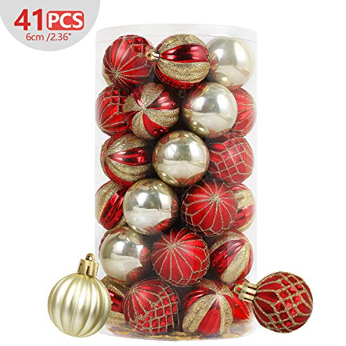 SHareconn 34ct 2.36 Christmas Balls Ornaments Shatterproof Christmas Tree Decoration Ball for Family Holiday Party,Tree Ornaments Hooks Included (60mm Gold Red)