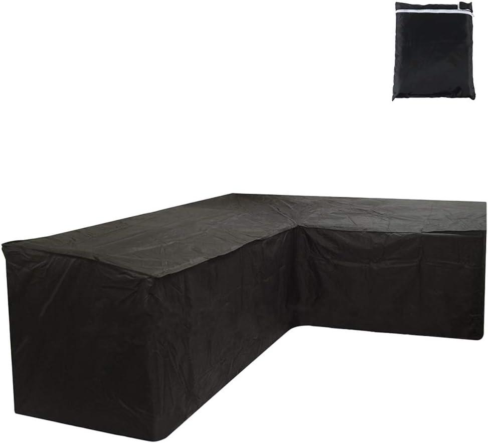 Iraza Funda Esquina Protectora Sofa Muebles, 300 x 300 x 90CM Impermeable para Sofás,Mesas y Sillas de Patio, Cubierta Protectora Exterior,L Rectangular (215x215x87CM)
