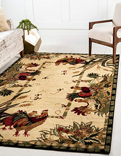 Unique Loom Barnyard Collection French Country Cottage Roosters Cream Area Rug (6' 0 x 9' 0) (Collection The Cottage)