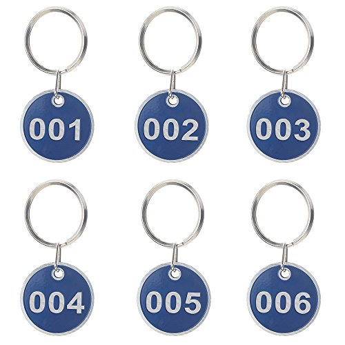 Aspire 30mm Rim Metal Key Tag Set - Number Tag Key Ring 50 Pieces-Blue-1 to 50