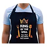 Super Colorful King of the Grill Apron- Aprons For Men Funny Aprons For Men -BBQ Apron For Your Grill Accessories - Gifts For Men - Birthday Gifts For Men Funny Gifts -Design by GORDENUSA