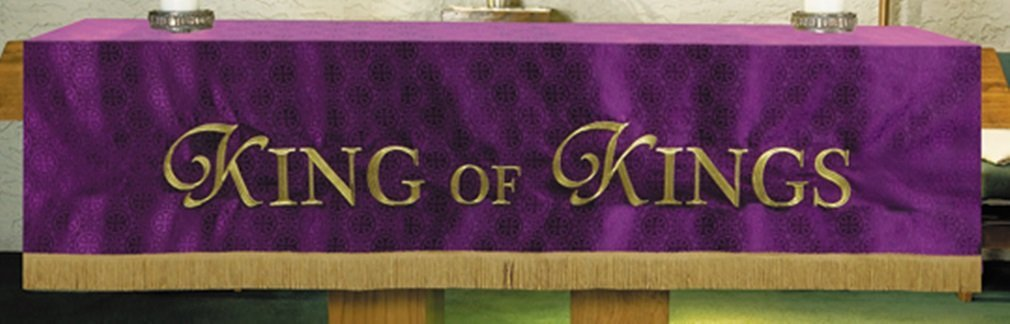 R.J Toomey Purple Polyester King Of Kings Embroidered Altar Frontal, 108 Inch