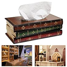 Itian Retro Book Wooden Tissue Dispenser Box Cover Napkin Holder Organizer