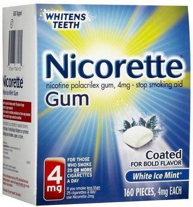 Nicorette OTC Stop Smoking Nicotine Gum, 4mg-White Ice Mint-160 ct. (Quantity of 1)