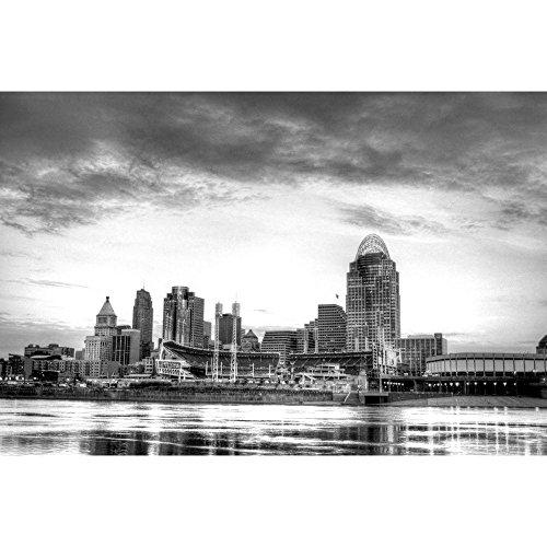PB Cincinnati Ohio Skyline, Newport Kentucky, USA Unframed Canvas Painting 24 x (Cincinnati Ohio Usa Framed)