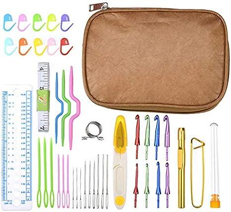 Agujas de tejer - Juego de 9 agujas de ganchillo intercambiables para tejer, accesorios de herramientas de costura con funda premium de 3,0-6,5 mm: Amazon.es: Juguetes y juegos