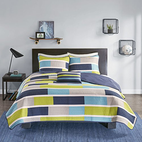 Mi-Zone Bradley Reversible Soft Brushed Microfiber Patchwork 4 Piece Quilt Coverlet Bedspread Bedding Set, Full/Queen Size, Blue/Lime Green