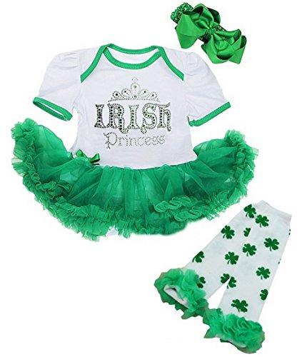 - Kirei Sui Baby Rhinestone Irish Princess Green Bodysuit Warmers X-Large White