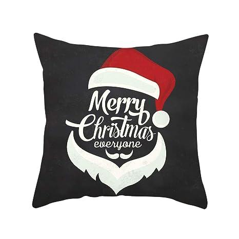 BHYDRY Funda de almohada de almohada de tiro cuadrada súper blanda de Navidad 45x45 cm Decoración