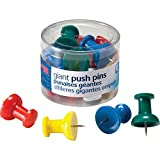 Officemate International Corp. 92902 Giant Pushpins, 1-1/2'',12/PK, Clear Tub, Assorted