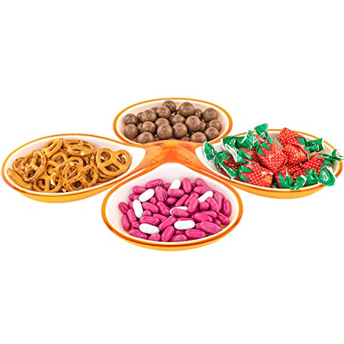 Southern Homewares SH-10199 Candy Nuts Snacks Food Party Plate Dish-2 Piece Design-4 Compartments