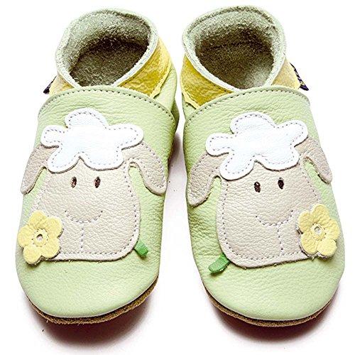 Inch Blue Mädchen/Jungen Baby-Geschenkset - Lederschuhe & Strampler aus Baumwolle - Mit Stickerei verziert - Schaf Grün