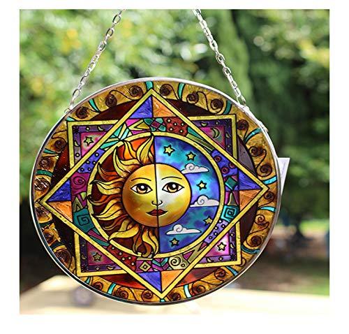 Acchiappasole in vetro con eclisse di sole e di luna