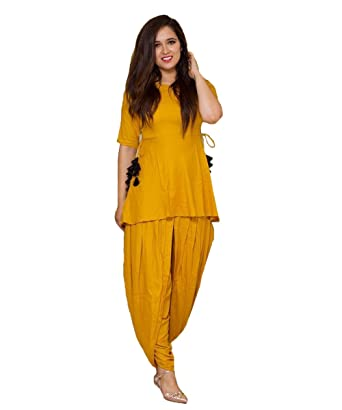 ee65ca5ef2 Gopinath Collections Rayon Yellow Plain Stitched Dhoti Style Kurti (Large):  Amazon.in: Clothing & Accessories