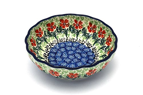 Polish Pottery Bowl - Shallow Scalloped - Small - Maraschino