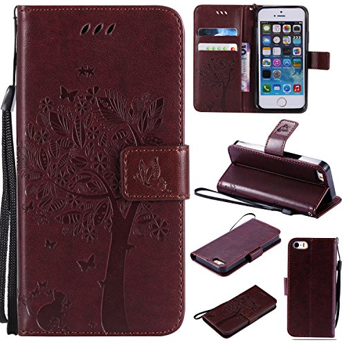 4s Cross (iPhone 4 / 4S Wallet Case,HAOTP Beauty Love Tree Embossed Plants PU Flip Stand Credit Card ID Holders Shockproof Soft TPU Inner Bumper Protective Leather Case Cover for iPhone 4 / 4S - Brown)