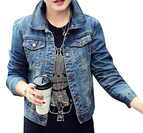 YUNY Women's Slim Buttoned Basic Pockets Long-Sleeve Short Jean Coat Light Blue XS