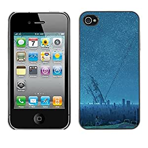X-ray Impreso colorido protector duro espalda Funda piel de Shell para Apple iPhone 4 / iPhone 4S / 4S - Sci Fi Future City Aliens Stars Blue