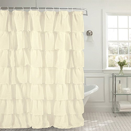 (Golden Linens Crushed Voile Sheer Shabby Chic Gypsy Ruffle Window Curtain Panel (Shower Curtain 70