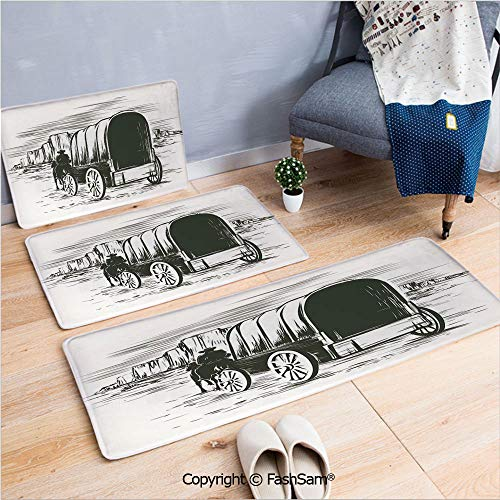 3 Piece Flannel Bath Carpet Non Slip Old Traditional Wagon Wild West Prairies Pioneer on Horse Transportation Cart Decorative Front Door Mats Rugs for Home(W15.7xL23.6 by W19.6xL31.5 by W15.7xL39.4)