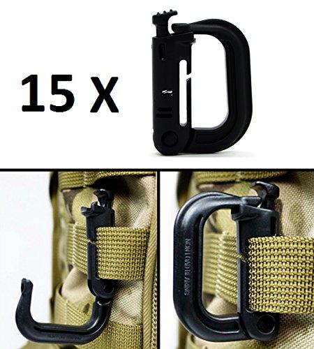 Ultimate Arms Gear 15 Pack Multipurpose Carabiner D-Ring Grimloc Detent Locking for MOLLE Webbing Vest Backpack Keychain Clip Systems, (Grimloc Carabiner)