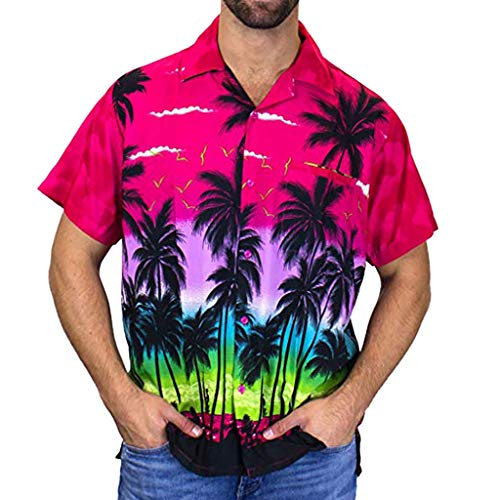 Big Sale! BBesty Fashion Men's Casual Loose Button Hawaii Print Beach Short Sleeve Quick Dry Top Blouse Hot -