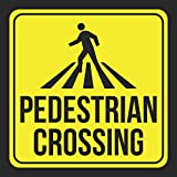 4 Pack - Aluminum Pedestrian Crossing Print Picture Yellow Black Notice School Public Office Business Signs , 12x12