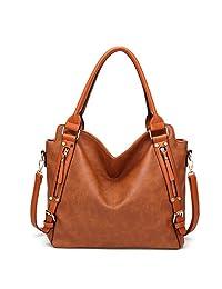 Women's Handbags Vintage PU Leather Tote Shoulder Bag Side Double Zipper Decoration Purse for Ladies (Brown)