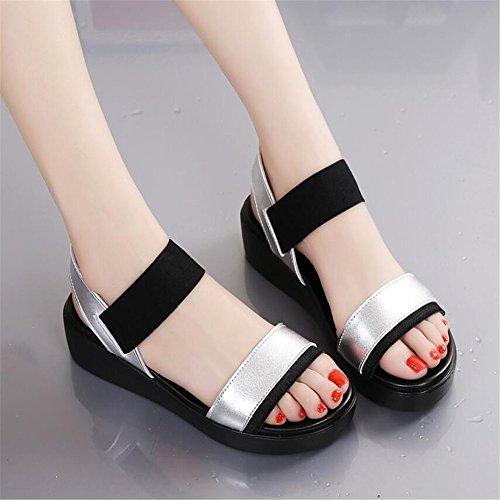 XZGC Mujer Zapatos de tacón plateado
