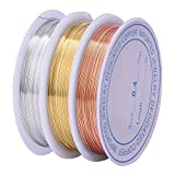 eBoot 3 Pieces 0.4 mm Tarnish Resistant Bare Copper Wire Jewelry Beading Wire Roll for Crafts Beading Jewelry Making