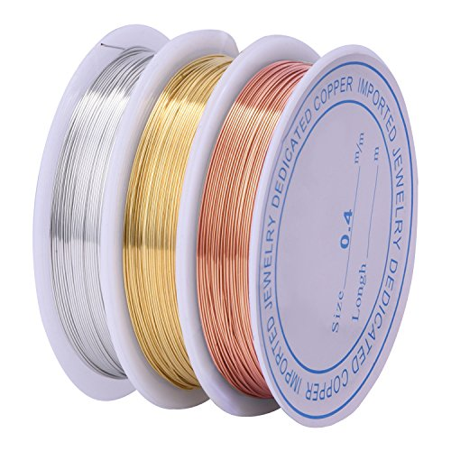 eBoot 3 Pieces 0.4 mm Tarnish Resistant Bare Copper Wire Jewelry Beading Wire Roll for Crafts Beading Jewelry Making (Jewelry Beading Supplies)