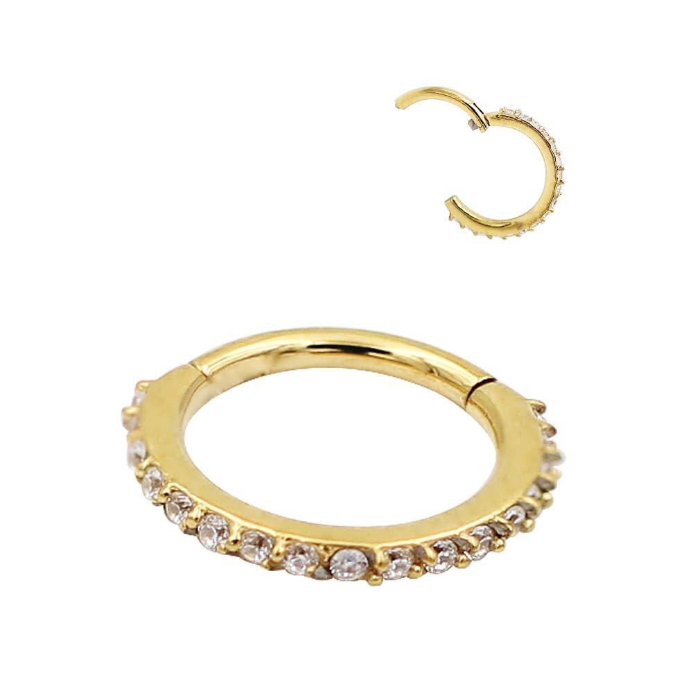 FANSING 16g Cartilage Earring Hoop Nose Rings 16 Gauge Pave Set Nose Ring Hoop Tragus Earring Helix Earrings Rook Earrings Septum Ring 6 mm 8mm 9mm 10mm