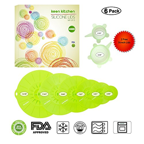 (8 PIECE SET) 6 Silicone Suction Lids and Food Covers with Bonus 2 Stretch Lids