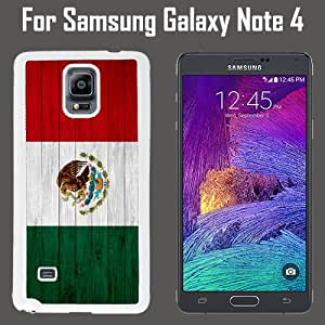 Mexico Flag On Wood Custom Case/ Cover/Skin *NEW* Case for Samsung Galaxy Note 4 - White - Plastic Case (Ships from CA) Custom Protective Case , Design Case-ATT Verizon T-mobile Sprint ,Friendly Packaging - Slim Case