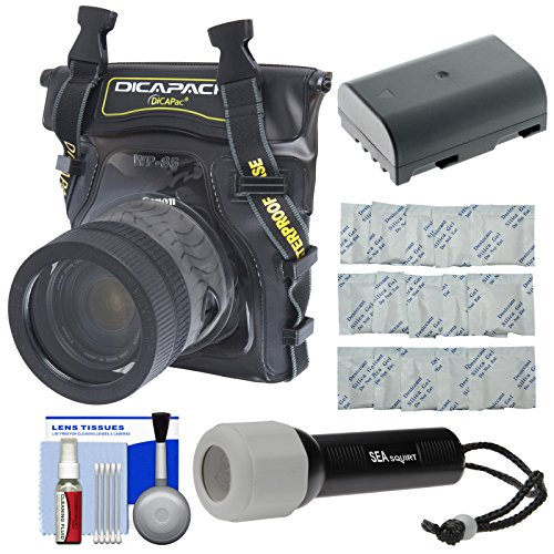 DiCAPac WP-S5 Waterproof Case for Compact DSLR Cameras with DMW-BLF19 Battery + LED Torch + Accessory Kit for Panasonic Lumix DMC-GH4, DC-GH5