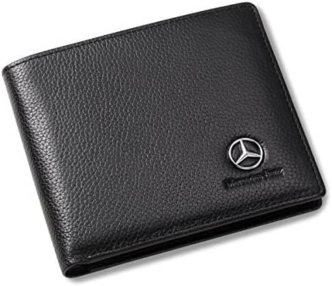 Mercedes Benz Bifold Wallet with 3 Card Slots and ID Window - Genuine Leather