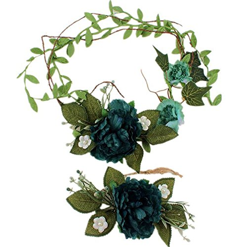 Kongsta Beach Artificial Flowers Wreath Hats for Bridesmaids Girls Wedding Accessories for Hair Bridal Hat Wrist Flower Set Dark Green
